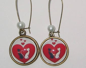 Earrings 20mm cabochon jewel * cats lover *.