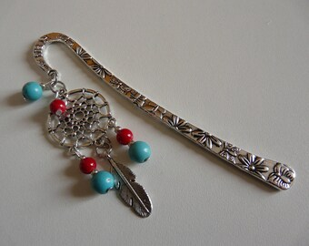 Bookmark beads - DREAMCATCHER TURQUOISE coral (dream catcher)