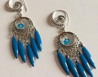 BOUCLES D'OREILLES avec navettes émaillées bleues