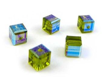 10 x  Swarovski 4 mm Cubes - OLIVINE AB