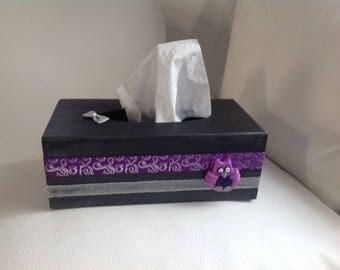 OWL... Gray, purple, purple tissue box