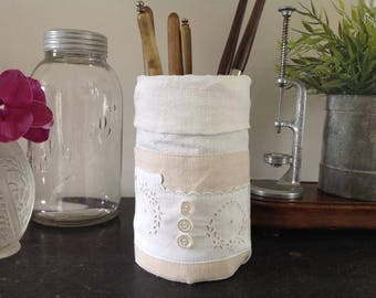 Box with old, beige and Ecru linen