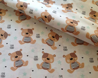 Fabric 100% cotton white Teddy bear
