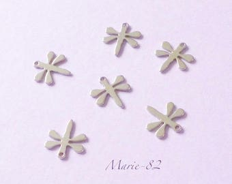 10 dragonflies / charms - stainless steel
