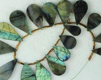 50% Off, 16 piece Labradorite Smooth pear Beads, 5 x 18 x 33 -- 5 x 10.5 x 21 mm [ M35 ]