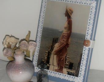 Carnet vintage tissu chambray, liberty et dentelle / Décor carte postale