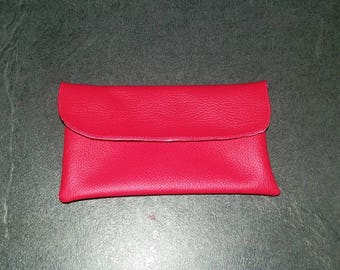 Faux leather snap pouch