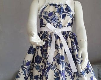 Dress Provencal blue flowers. HAND MADE