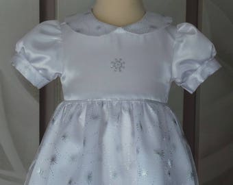 Christening 6 months or a white satin and tulle wedding dress