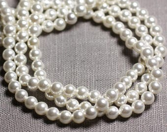 20pc - pearls mother of Pearl colored balls 6 mm white C13 - 4558550092878