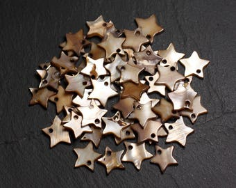 10pc - Pearl Brown Beige12mm 4558550020543 star charms