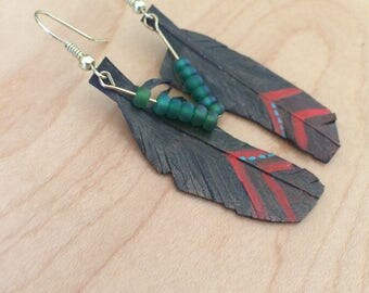 Recycled Glass beads on Bicycle Tube Earring