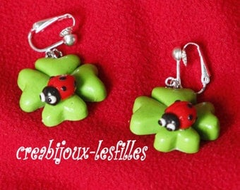polymer clay earrings jewelry, handmade jewelry treffle Ladybug birthday gifts
