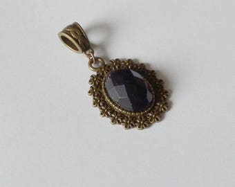 Bronze pendant Mirtille - Vintage - Amethyst faceted and metal