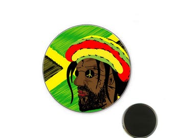 Rastaman magnet - Reggae Badge - Magnet 32 mm
