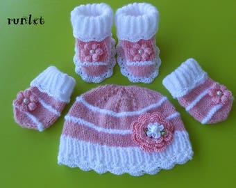 baby set of rose wool,bonnet mittens