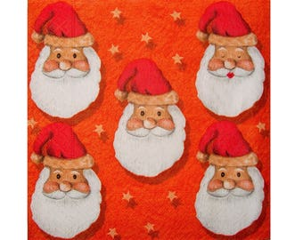 Set of 3 NOE010 heads of Santa Claus paper napkins