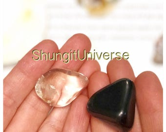 Shungite and quartz harmonizer,pocket palm harmonizers,emf protection,reiki meditation practice, stone healing, magic crystals,earth energy