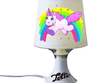 """Personalized white bedside lamp """"Rainbow Unicorn"""" with a name"""