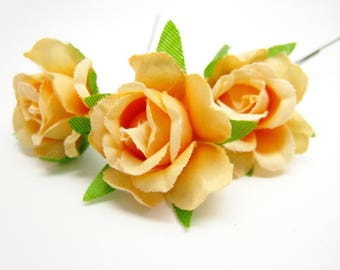 3 roses 2cm Orange silk artificial Stud