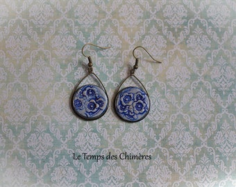 Earrings from Japan in bronze and polymer clay