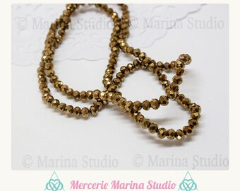 bronze 20 pumpkin 4x3mm color Crystal beads