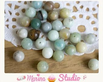 10 amazonite 8mm round natural - gemstone beads