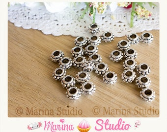 10 pearls carved silver metal balls N33577 7mm