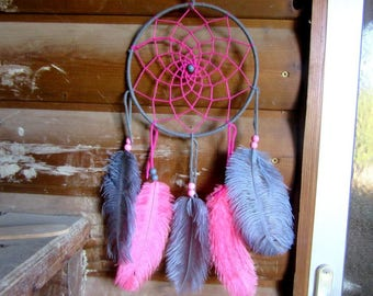Catch dreams pink and gray / ostrich feathers / actual 45 cm