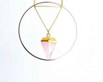 Gold necklace - geometric triangle/circle - rose quartz