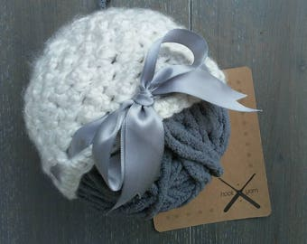Crochet Baby hat with ribbon bow | newborn baby girl | 0-3mo | off-white/ cream | READY TO SHIP