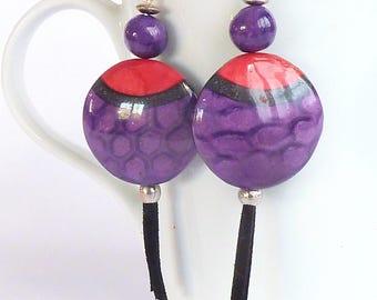 Earrings purple and purple glitter