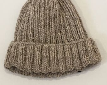 Beanie hand knitted ribbed