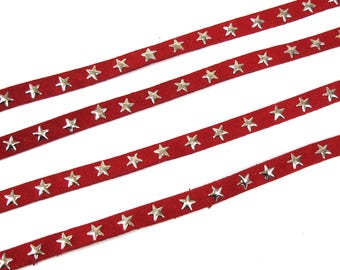 Red suede flat cord star 10 mm X 1 meter