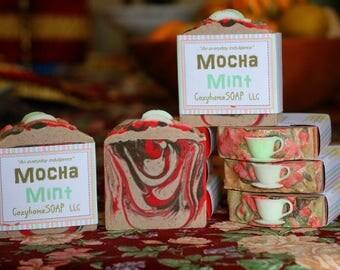 Mocha Mint Handmade Artisan Swirl Soap