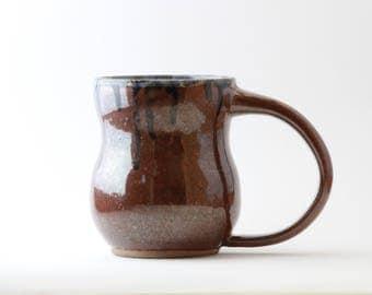 Large Red and Blue Drip Ceramic Mug