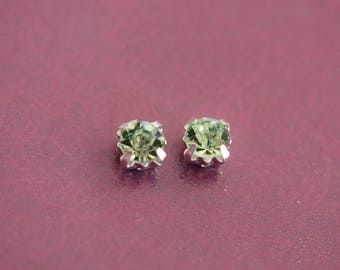 Green Crystal rhinestone Silver clear metal