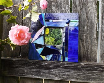 Sky Blue and Sunset Pink Handcrafted Mosaic Mirror