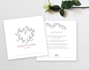 Wedding invitation - Bohemian Rose - to customize