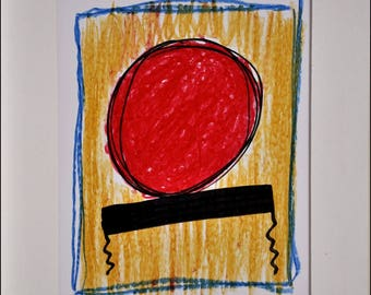 Original ink and pastel drawing fat on white bristol paper. White paper
