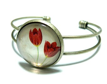 Designer jewelry Bracelet vintage tulips XL 25 mm color bronze