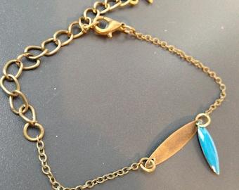 fine enamel leaf bracelet teal