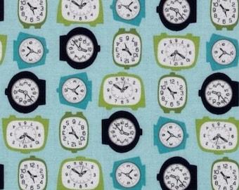 Patchwork blue clocks by Riley Blake fabric