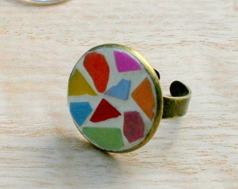 Very colorful mosaic ring
