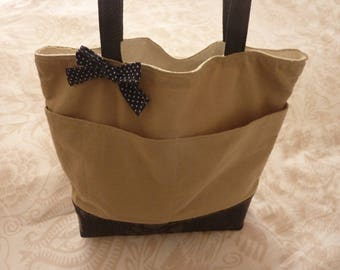 bag designer linen and Navy blue leather tote