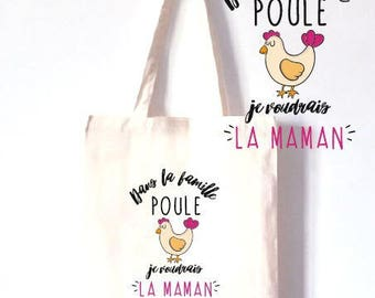 """TOTE BAG cotton """"in the chicken family"""""""