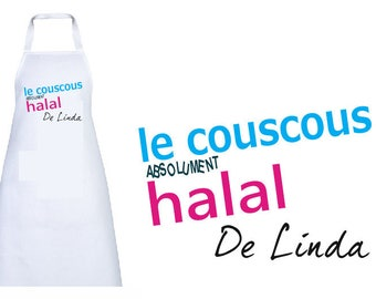 "Personalized ""absolutely halal couscous"" adult apron"