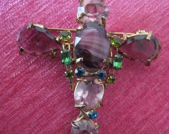 Vintage brooch Dragonfly with purple glass and rhinestone