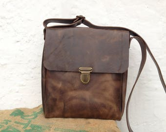 Leather man bag / leather man bag / vintage brown leather / handmade