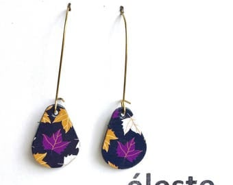 Leather earrings / black, white and gold patterns / lightweight earrings with hypoallergenic and anti oxidant clip